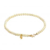 Ожерелье из морского жемчуга Акойя золотого оттенка