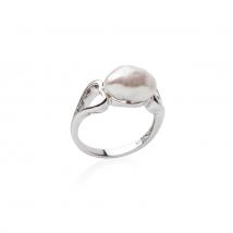 Кольцо из серебра с белым жемчугом Кеши