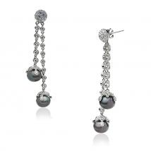 Серебряные серьги с черным жемчугом и циркониями