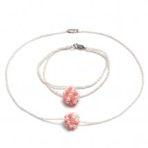 Ожерелье и браслет с жемчугом и кораллом
