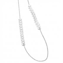 Серебряное колье Мишель с белым жемчугом