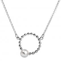 Серебряное колье Луна с белой жемчужиной