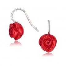 Серебряные серьги Роза с красным кораллом