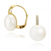 Золотые серьги Валери с жемчугом и бриллиантами