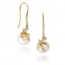 Золотые серьги Бантик с жемчугом и бриллиантами