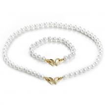 Ожерелье и браслет из белого жемчуга