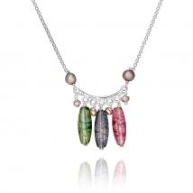 Ожерелье Соцветие с жемчугом и хрусталем