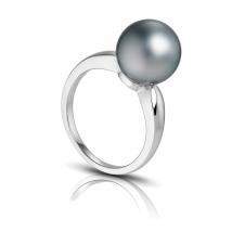 Золотое кольцо Eternity с серым жемчугом Таити