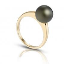 Золотое кольцо Eternity с черным жемчугом Таити