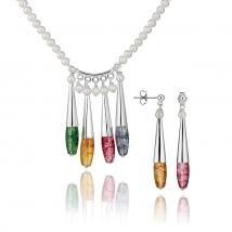 Ожерелье и серьги Соцветие с хрусталем и жемчугом