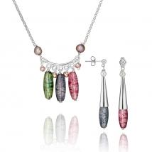 Ожерелье и серьги Соцветие с жемчугом и хрусталем