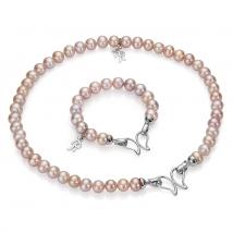 Ожерелье и браслет из крупного розового жемчуга