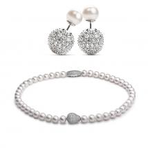 Ожерелье и серьги из белого натурального жемчуга