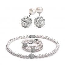 Ожерелье, браслет и серьги из крупного белого жемчуга