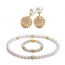 Ожерелье, серьги и браслет из белого жемчуга