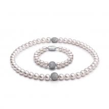 Ожерелье и браслет из жемчуга с ювелирными шариками