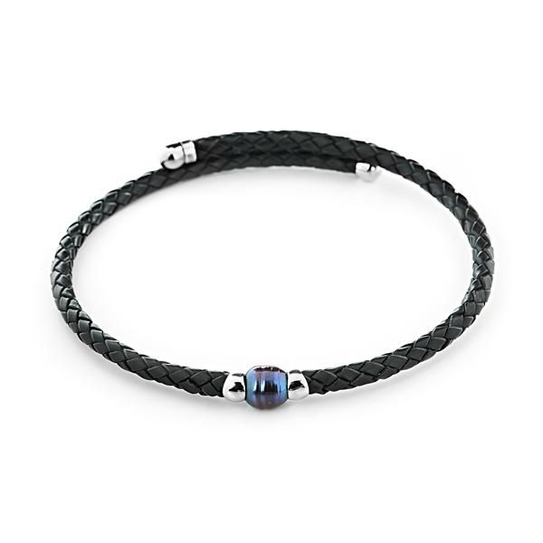 Купить Ожерелья Кожаное ожерелье с темной жемчужиной  Кожаное ожерелье с темной жемчужиной