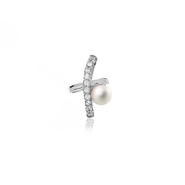 Купить Подвески Подвеска с циркониями и белой жемчужиной  Подвеска с циркониями и белой жемчужиной