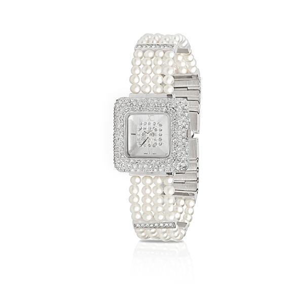 Купить Часы Часы с белым жемчугом и кристаллами  Часы с белым жемчугом и кристаллами