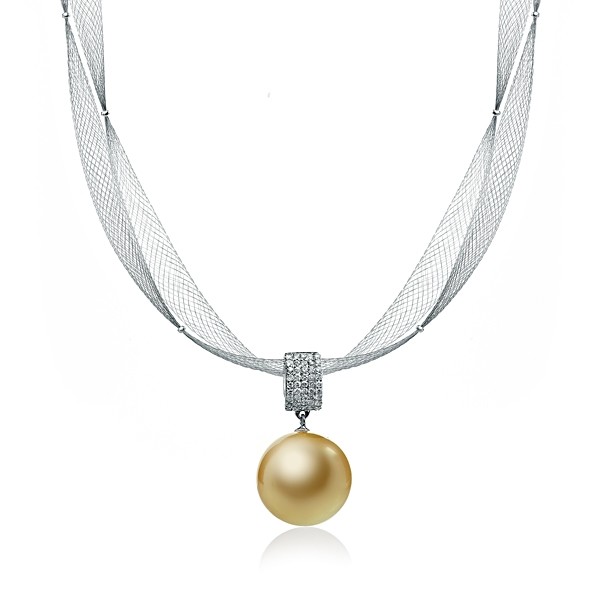 Купить Колье Золотое колье с крупной жемчужиной Южных морей и бриллиантами  Золотое колье с крупной жемчужиной Южных морей и бриллиантами
