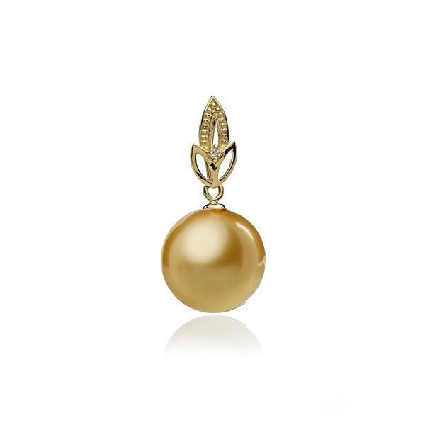 Золотая подвеска с жемчужиной Южных морей цвета шампань