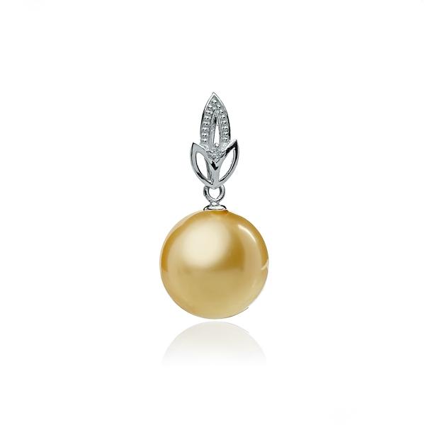 Подвеска из белого золота с жемчужиной цвета шампань