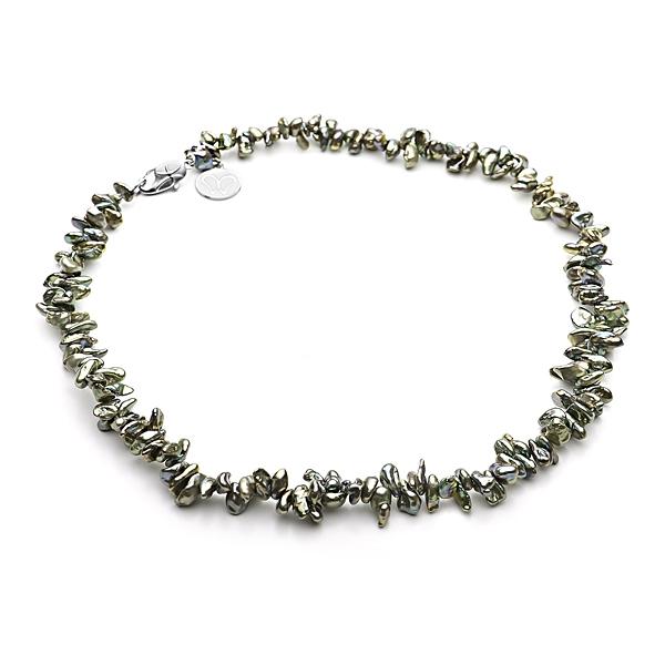 Ожерелье из жемчуга Кеши фисташкового цвета
