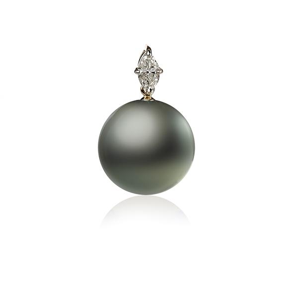 Золотая подвеска с черной жемчужиной Таити и бриллиантом
