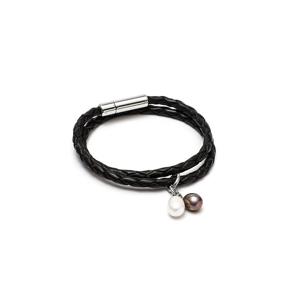 Кожаный браслет с жемчужинами