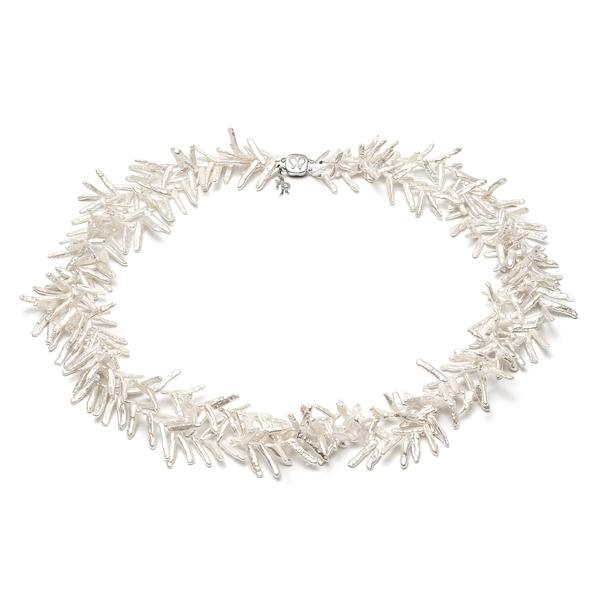 Ожерелье Снежинка из белого жемчуга в форме коралла