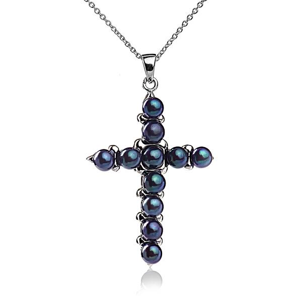 Подвеска в форме креста с черным жемчугом