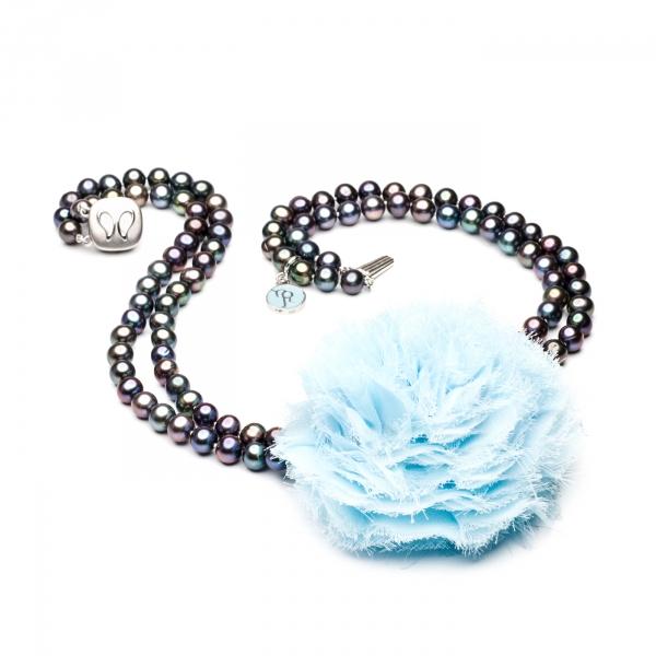 Двойное ожерелье с голубым цветком