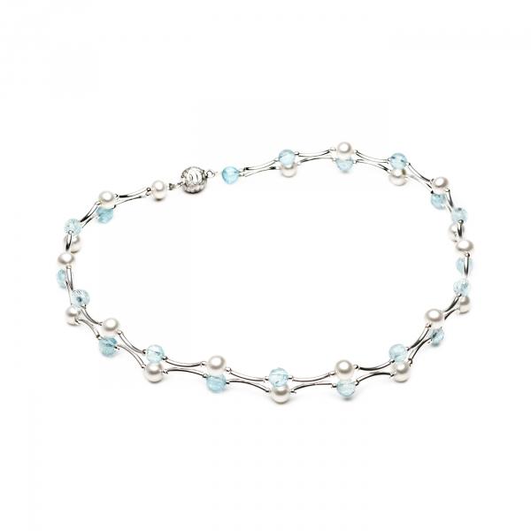 Ожерелье Амели с натуральным жемчугом и топазами