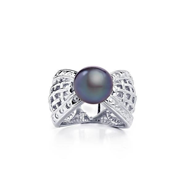 Серебряное кольцо Престиж с черной жемчужиной