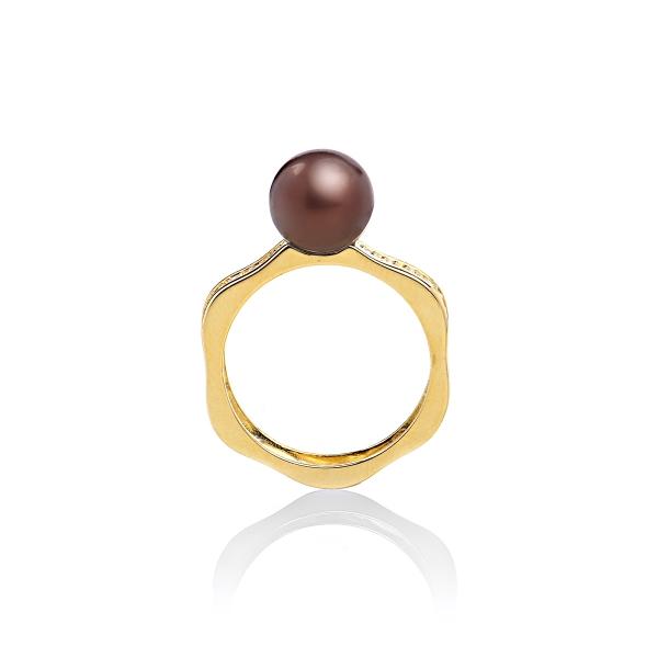 Кольцо Романс с жемчужиной цвета