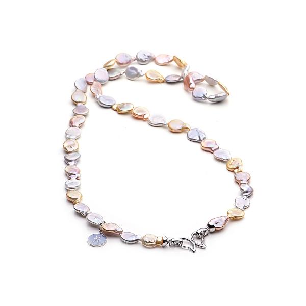 Ожерелье Бива из разноцветного жемчуга