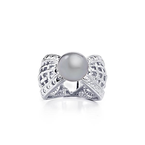 Серебряное кольцо Престиж с серой жемчужиной