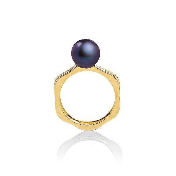 Кольцо Романс с черной жемчужиной