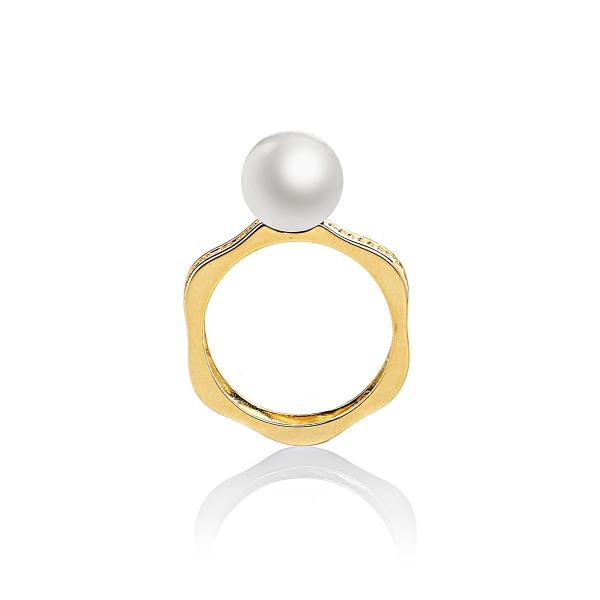 Кольцо Романс с белой жемчужиной