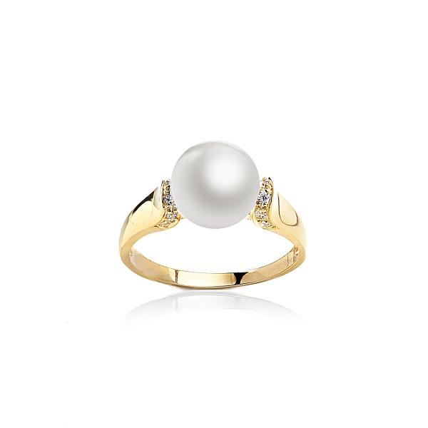 Позолоченное кольцо с белой жемчужиной