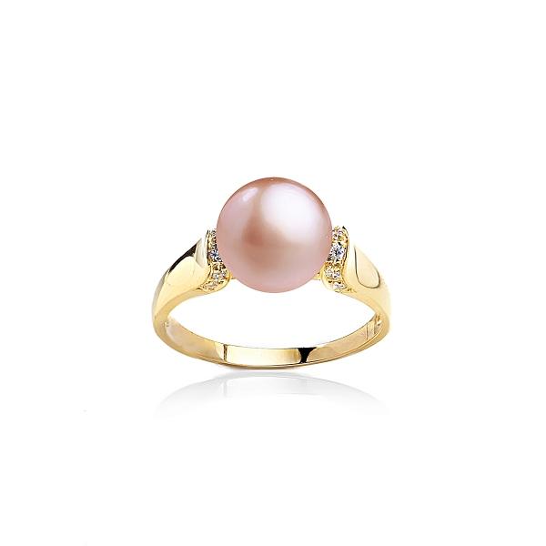 Позолоченное кольцо с жемчужиной цвета лаванды