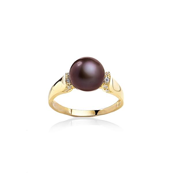 Позолоченное кольцо с жемчужиной цвета шоколад