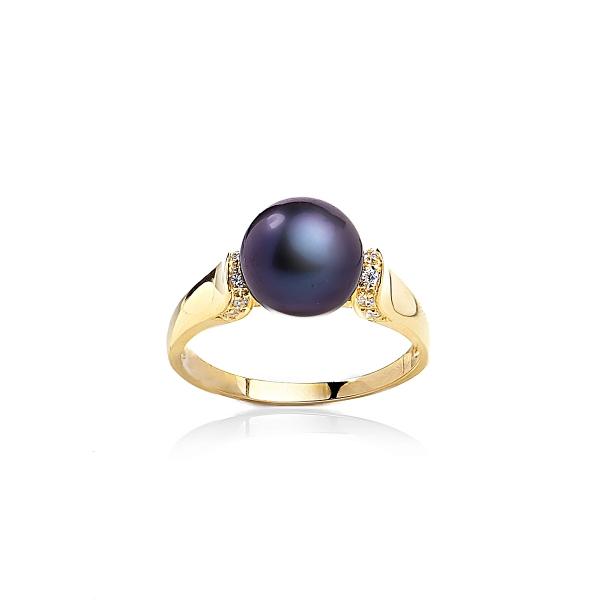 Позолоченное кольцо с черной жемчужиной