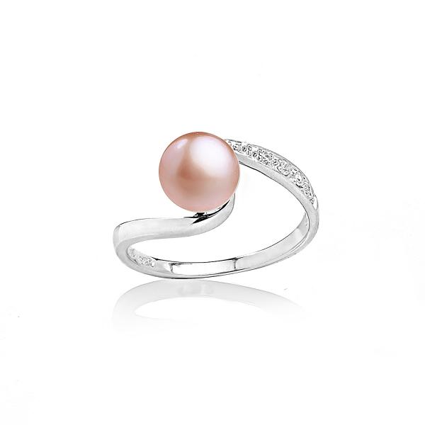 Серебряное кольцо с жемчужиной цвета оранж