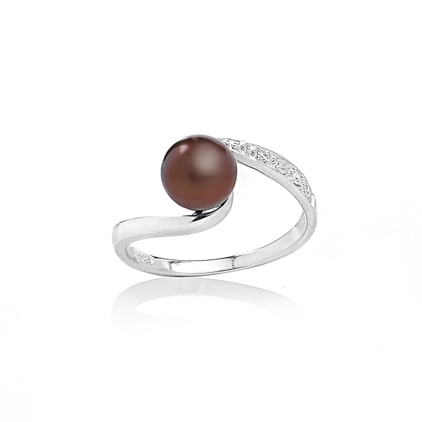 Серебряное кольцо с жемчужиной цвета шоколад