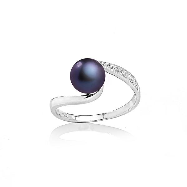 Серебряное кольцо с черной натуральной жемчужиной