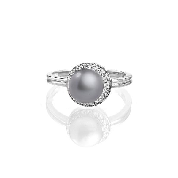 Серебряное кольцо с серой натуральной жемчужиной