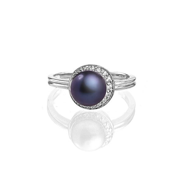 Серебряное кольцо с жемчужиной цвета