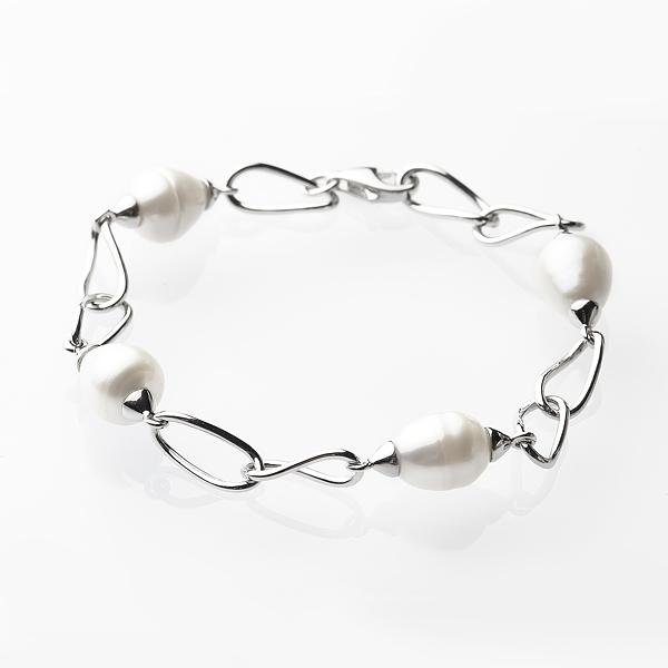Серебряный браслет с белыми жемчужинами