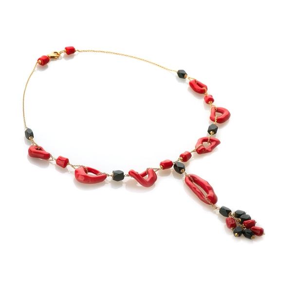 Ожерелье Фэнси из золота со вставками из коралла и оникса